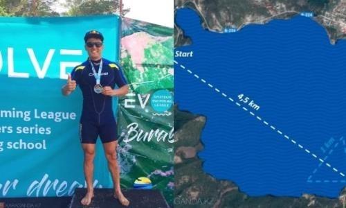 Карагандинец посвятил свой заплыв через озеро Бурабай памяти Дениса Тена