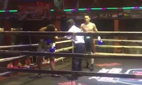 Видео зрелищного нокаута от чемпиона Казахстана в дебютном поединке на профи-ринге