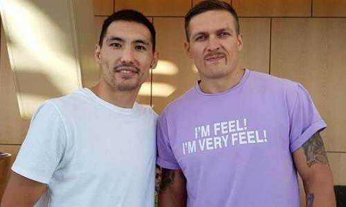 Непобежденный казахстанский боксер перед своим боем встретился с Усиком