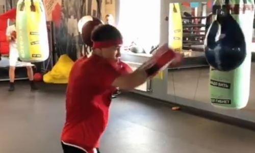 Тренер казахстанского нокаутера показал видео его подготовки к бою с экс-чемпионом мира