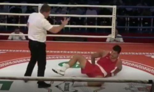 Еле встал. Видео нокаута казахстанского боксера узбекским супертяжем из профи
