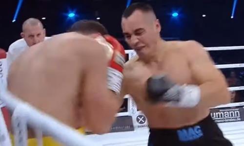 Видео впечатляющего нокаута «пушкой» с левой в челюсть казахстанского супертяжа в бою за титул IBO