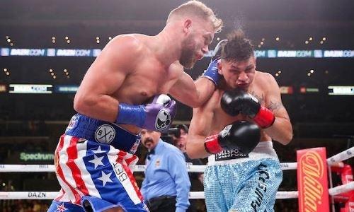 Видео трех нокдаунов и нокаута в дебютном бою Сондерса в США за титул чемпиона мира WBO