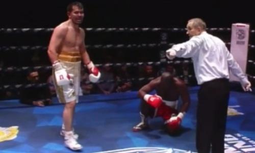 Видео нокдауна и нокаута казахстанским певцом-боксером соперника с 28 победами в титульном бою