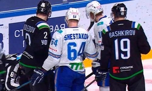 Хоккеисты «Барыса» и «Салавата Юлаева» устроили драку в матче КХЛ. Видео