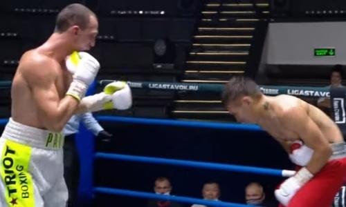 Проигравший казахстанцу полутяж трижды отправил в нокдаун и нокаутировал россиянина. Видео