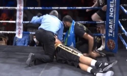 Лицом в пол. Узбекского боксера брутально вырубили уже в первом раунде. Видео