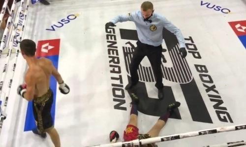 Земля ушла из-под ног. Украинский боксер жестким левым хуком нокаутировал соперника. Видео