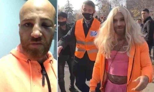 Чемпион Казахстана по бодибилдингу в женском платье был избит на митинге в Алматы. Видео