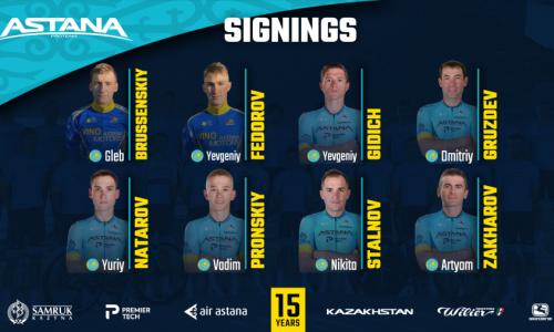 «Астана» объявила о подписании контрактов с рядом гонщиков