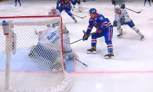 Победная шайба СКА в матче с «Барысом» вошла в ТОП-10 голов КХЛ. Видео