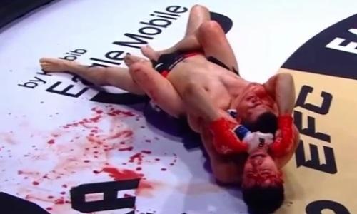 Казахстанский боец в кровавой зарубе задушил «Плохого парня» на турнире EFC 30 в Москве