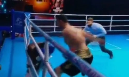 Видео нокаута казахстанца Айдоса Ербосынулы в бою титулы WBC, WBA и WBO