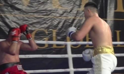 Избиение и нокдаун. Видео второго победного боя Камшыбека Кункабаева на профи-ринге