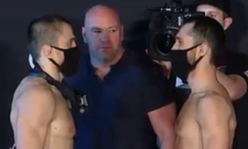 Сергей Морозов и Умар Нурмагомедов устроили дуэль взглядов перед боем в UFC. Видео