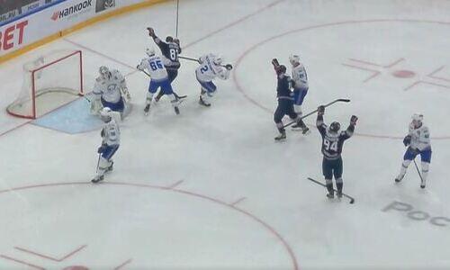 «Барыс» пропустил шайбу на 37 секунде первого матча в плей-офф КХЛ. Видео