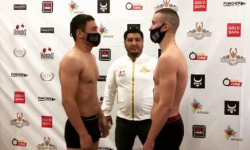 Казахстанский боксер прошел взвешивание перед боем с украинцем. Видео