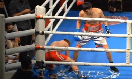 Нокдаун и нокаут. Чемпион Казахстана разобрался с украинским соперником на вечере бокса в Алматы