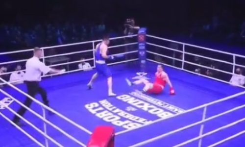Видео «базуки» Бекзада Нурдаулетова, после которой россиянин свалился на настил ринга