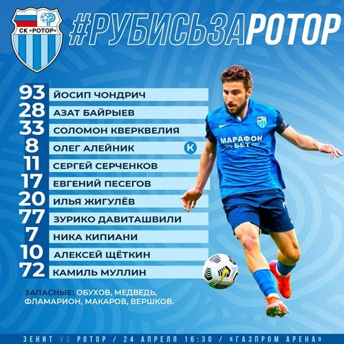 Футболист сборной Казахстана заявлен в старте «Ротора» на матч против «Зенита»