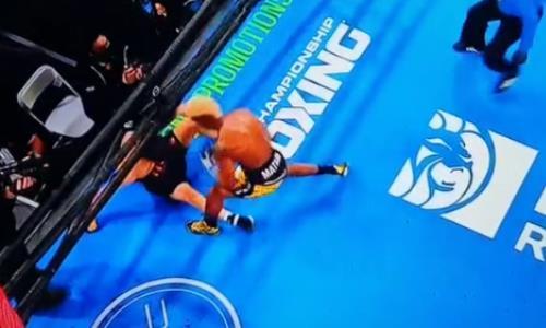 Видео нокдауна Батыра Джукембаева в дебютном бою в США