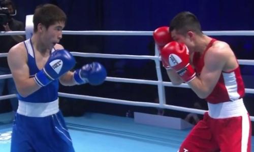 Видео полного боя c зарубой 18-летнего казахстанца против узбекского чемпиона за «золото» ЧА-2021 по боксу