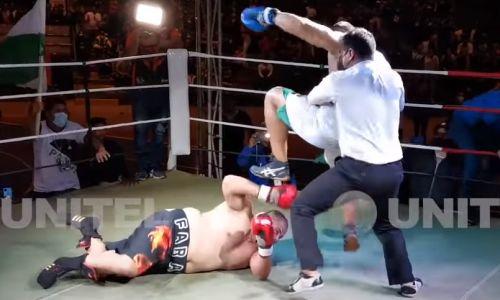 Боксер отправил соперника в нокдаун и начал добивать ногами по голове. Видео