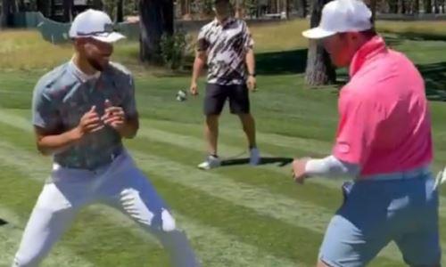 «Канело» устроил спарринг со звездой НБА во время игры в гольф. Видео