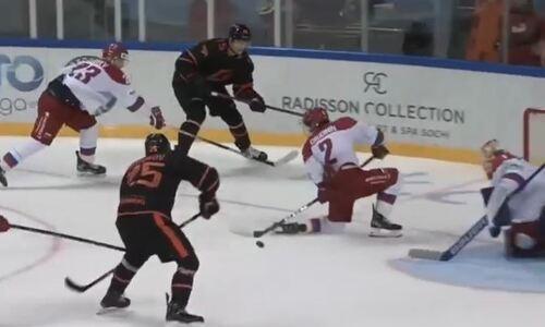 Появилось видео первого ассиста казахстанского форварда за «Авангард» в матче с разгромом олимпийской сборной России