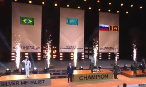 Гимн Казахстана впервые прозвучал на чемпионате мира по боксу среди военнослужащих. Видео