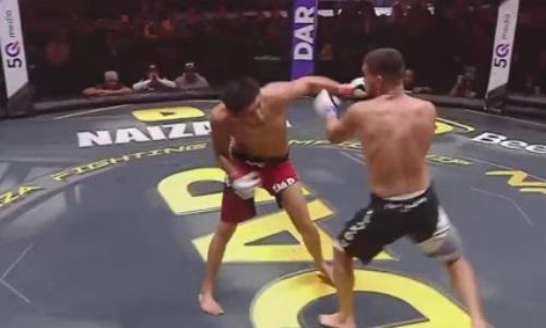 Видео жесткого нокаута казахстанского файтера в главном бою турнира NFC 34