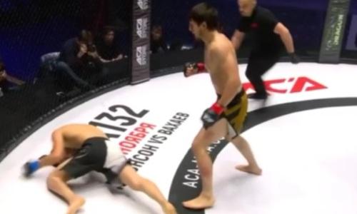 Видео жесткого нокаута Нурбергена Шарипова в первом раунде ACA 130
