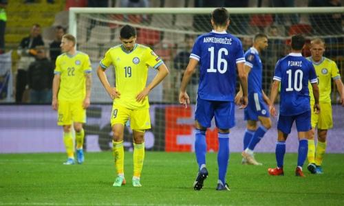 Закончился первый тайм матча Казахстан — Босния и Герцеговина в отборе на ЧМ-2022